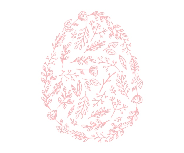 Ícone de ovo de páscoa de vetor. ilustração em estilo simples. ovo de páscoa texturizado por flores.