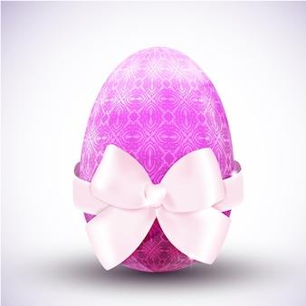 Ícone de ovo de páscoa feliz estampado em roxo com grande ilustração vetorial realista de laço de fita de seda