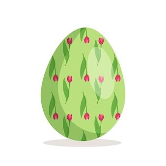 Ícone de ovo de páscoa feliz símbolo de feriado cristão com padrões de texturas diferentes e decoração festiva.