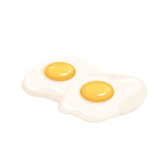 Ícone de ovos. dois ovos fritos, conceito de dieta ceto, ilustração alimentar saudável.