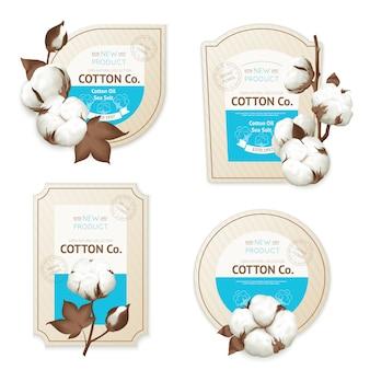 Ícone de pacote de emblema de algodão realista definido com óleo de algodão mar suave descrição