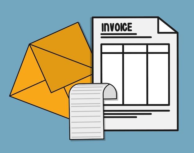 Ícone de pagamento de factura de papel de envelope de documento