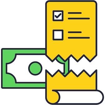 Ícone de pagamento em caixa eletrônico. projeto de lei de vetor plana, bilhete de recebimento de dinheiro da fatura, projeto de imposto de banco. ilustração de tecnologia de terminal pos Vetor Premium