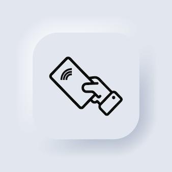Ícone de pagamento sem contato. pagamento sem fio. ícone nfc. cartão de crédito. botão da web da interface de usuário branco neumorphic ui ux. neumorfismo. ilustração vetorial