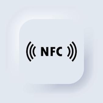 Ícone de pagamento sem dinheiro. ícone nfc. ícone de pagamento sem contato. pagamento sem fio. cartão de crédito. botão da web da interface de usuário branco neumorphic ui ux. neumorfismo. ilustração vetorial