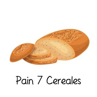Ícone de pão de 7 cereales de dor. ilustração colorida do produto da padaria francesa.