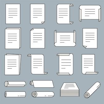 Ícone de papel definido no estilo de linha fina. ilustração vetorial.