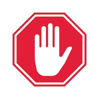 Ícone de parada de mão. sinal de proibição de vetor. design de interface do usuário simples.