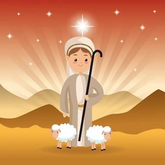 Ícone de pastor e carneiro sobre a paisagem do deserto