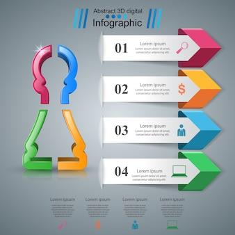 Ícone de peão negócios infográficos