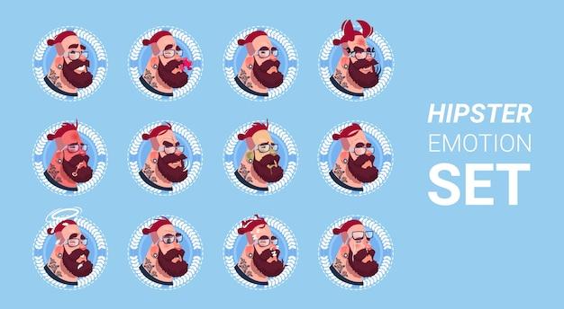 Ícone de perfil masculino emoção avatar set