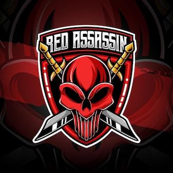 Ícone de personagem assassino vermelho com logotipo esport