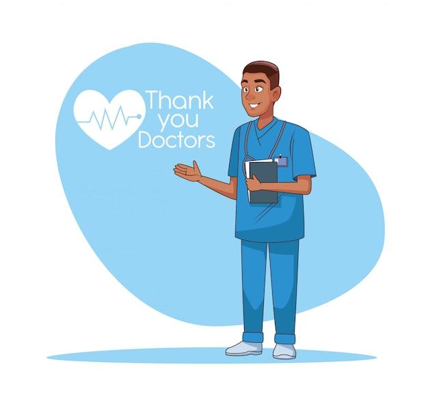 Ícone de personagem de avatar profissional médico afro