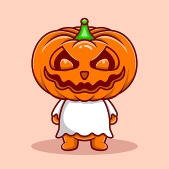 Ícone de personagem fantasma de abóbora ilustração fofa