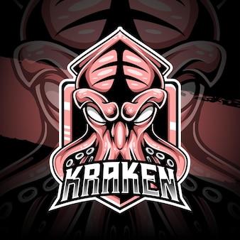 Ícone de personagem kraken do logotipo esport Vetor Premium