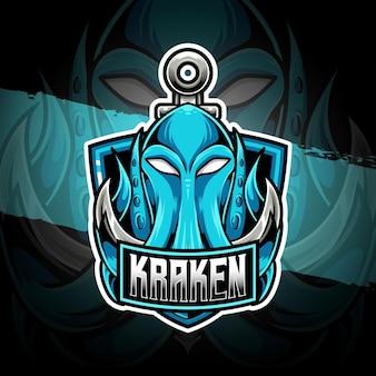 Ícone de personagem kraken do logotipo esport