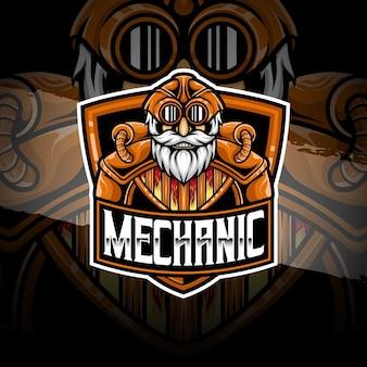 Ícone de personagem mecânico do logotipo esport