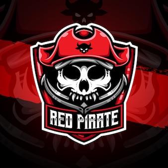 Ícone de personagem pirata vermelho com logotipo esport