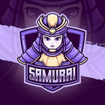 Ícone de personagem samurai fofo logotipo esport