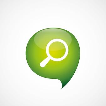 Ícone de pesquisa logotipo do símbolo de bolha do pensamento verde, isolado no fundo branco