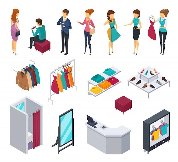 Ícone de pessoas isométrica colorido tentando loja conjunto com acessórios e elementos de loja de roupas móveis