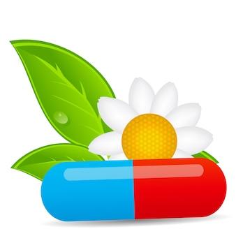 Ícone de pílula de ervas. ilustração em vetor de fundo do ambiente.