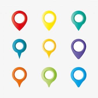 Ícone de pino de mapeamento colorido.