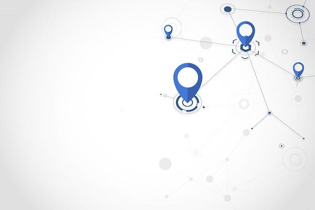 Ícone de pino gps com linhas e pontos conectando a cor azul sobre fundo branco