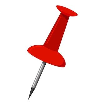 Ícone de pino vermelho push office isolado no fundo branco. ilustração em vetor de sinal de botão de anexar de escritório.