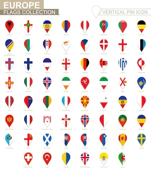 Ícone de pino vertical, coleção de bandeira da europa.