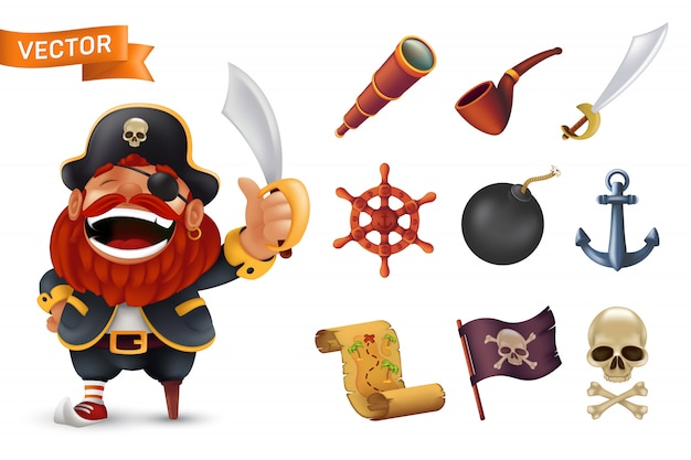 Ícone de pirata do mar conjunto com caráter de capitão barbudo vermelho, crânio humano, sabre, âncora, volante, luneta, bomba, tubulação, bandeira de jolly roger preto preto e mapa do tesouro. ilustração isolado no branco
