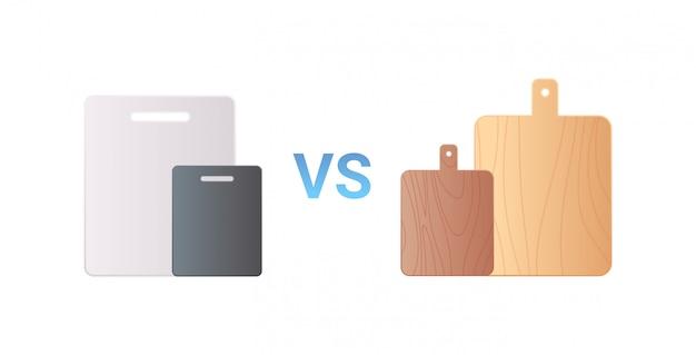 Ícone de placa de cozinha de corte de madeira vs plástico zero conceito de desperdício fundo branco plano horizontal