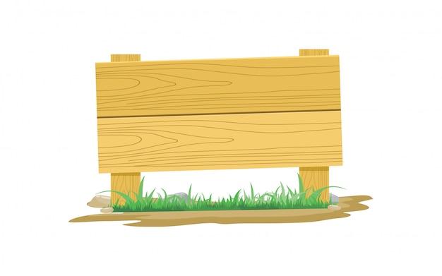 Ícone de placa de madeira com grama e ilustração vetorial de pedra