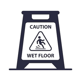 Ícone de placa de piso molhado de cuidado. ilustração vetorial plana