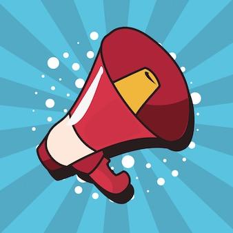 Ícone de plano de fundo do megafone pop art
