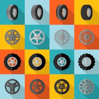 Ícone de pneu plano