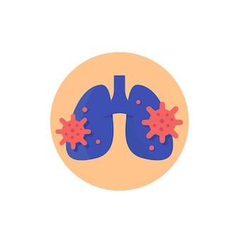 Ícone de pneumonia com vírus e pulmões
