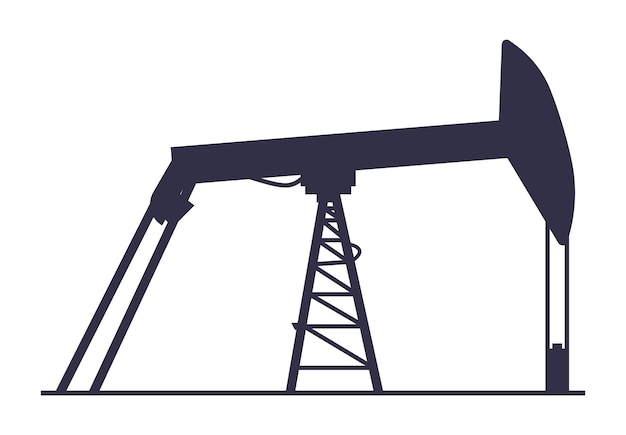 Ícone de poço de petróleo silhueta de instalação de extração de gasolina conceito da indústria de geração de energia