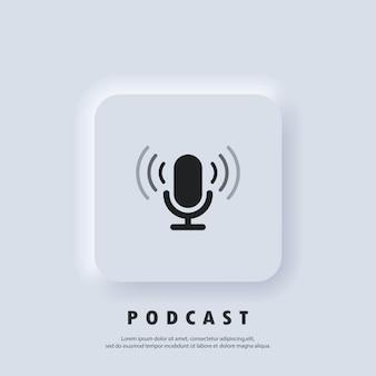 Ícone de podcast. ícone do microfone. logotipo, aplicativo, interface do usuário. ícones de rádio de podcast. vetor. botão da web da interface de usuário branco neumorphic ui ux. neumorfismo