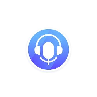 Ícone de podcast para aplicativo com fone de ouvido e microfone