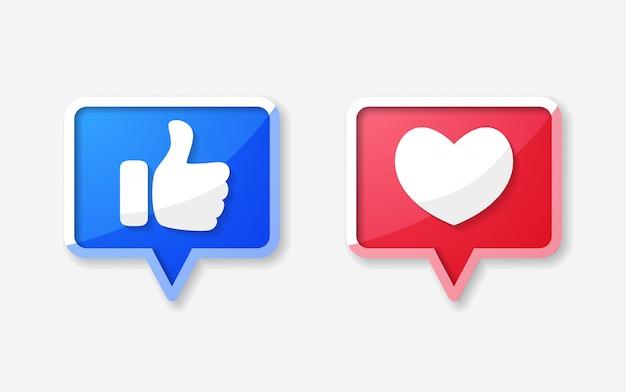 Ícone de polegar para cima e coração de reações empáticas emoji
