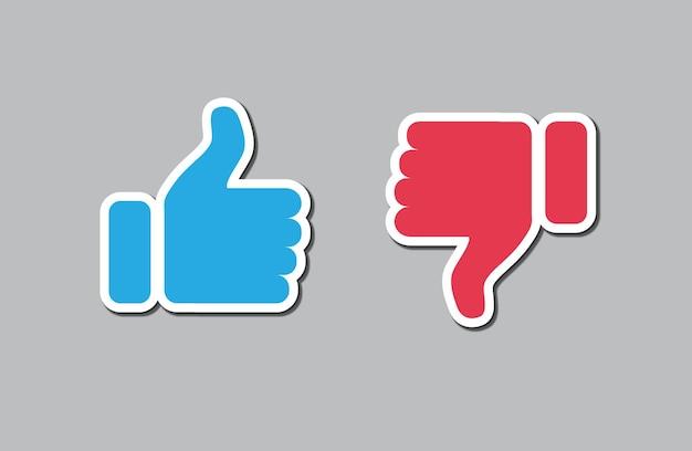 Ícone de polegar para cima e polegar para baixo botão de gostar e não gostar