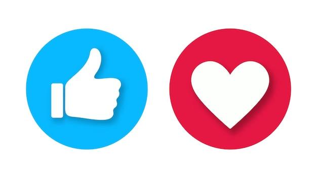 Ícone de polegar para cima e um coração com sombras cadentes isoladas no fundo branco. gosto de vetor e ícone de amor. botão de curtir e amar pronto para site e aplicativo móvel.