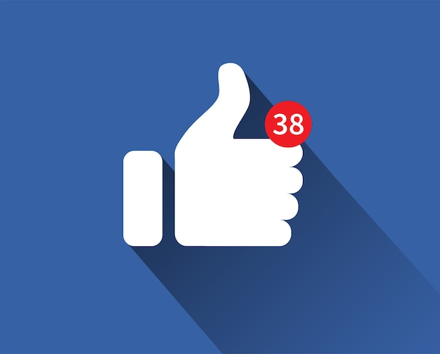 Ícone de polegar para cima. notificação como ícone.