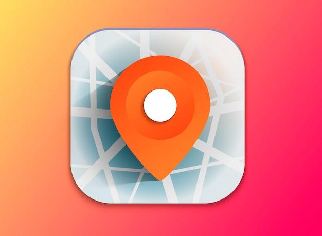 Ícone de ponteiro de mapa 3d. marcadores de mapa. ilustração vetorial