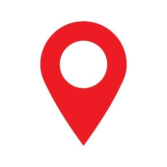 Ícone de ponto de pino com símbolo de ponteiro de localização de mapa vermelho isolado no fundo branco