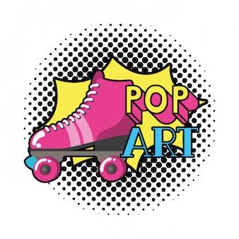 Ícone de pop art de patins