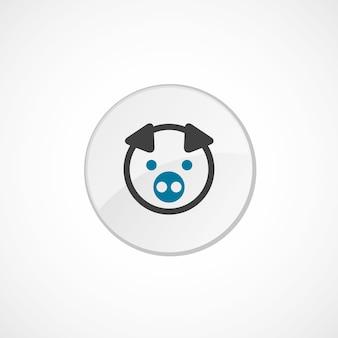 Ícone de porco 2 colorido, cinza e azul, emblema do círculo