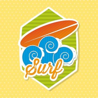 Ícone de prancha de surf sobre ilustração vetorial de fundo amarelo
