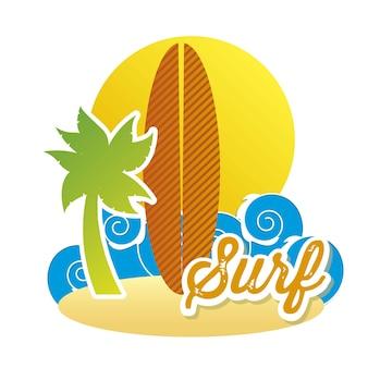 Ícone de prancha de surf sobre ilustração vetorial de fundo branco